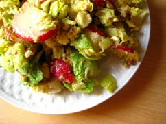 brussels sprout salad with radish + feta
