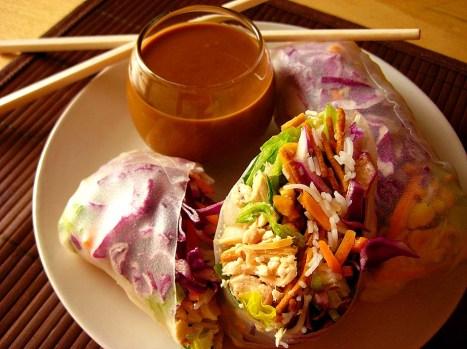 vietnamese summer rolls with hoisin-peanut sauce