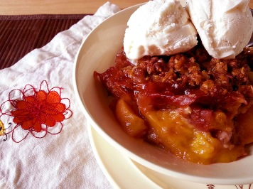 honey-almond peach crisp