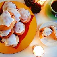 marzipan stollen buns with crunchy sugar glaze