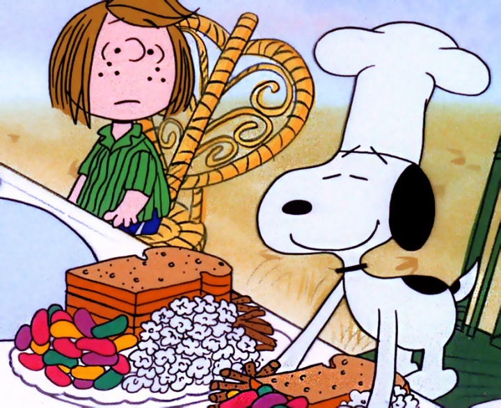CHEF SNOOPY PRESENTS THANKSGIVING DINNER AS A CONFUSED PEPPERMINT PATTY LOOKS ON