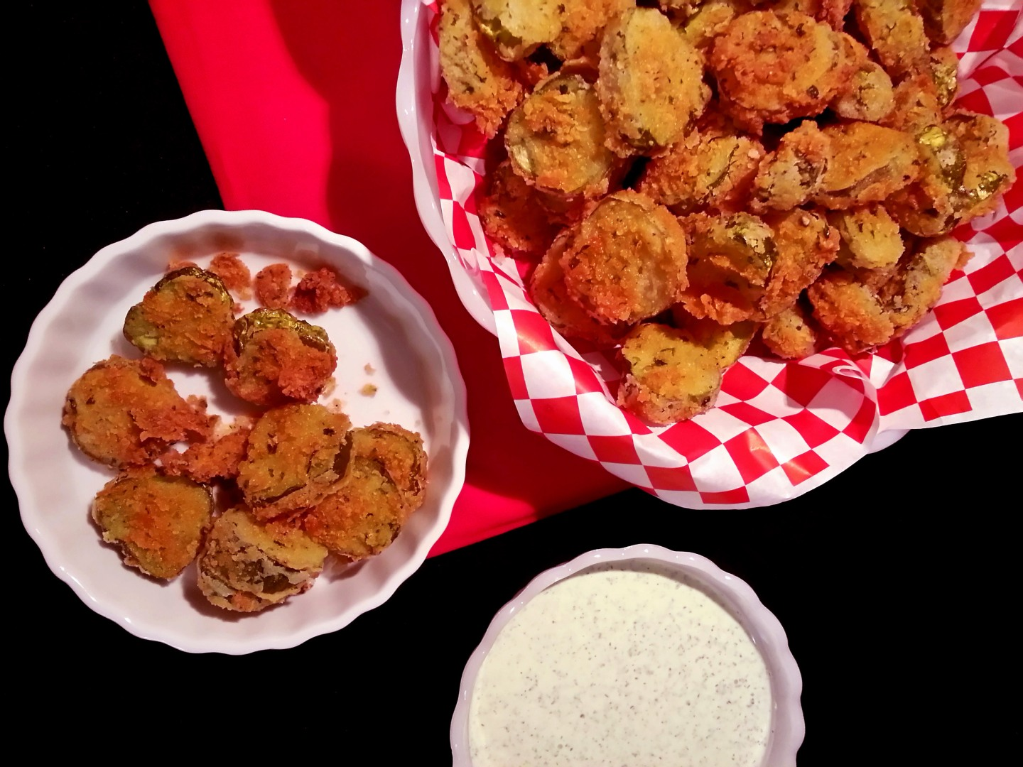 crunchy fried pickles with herbyranch