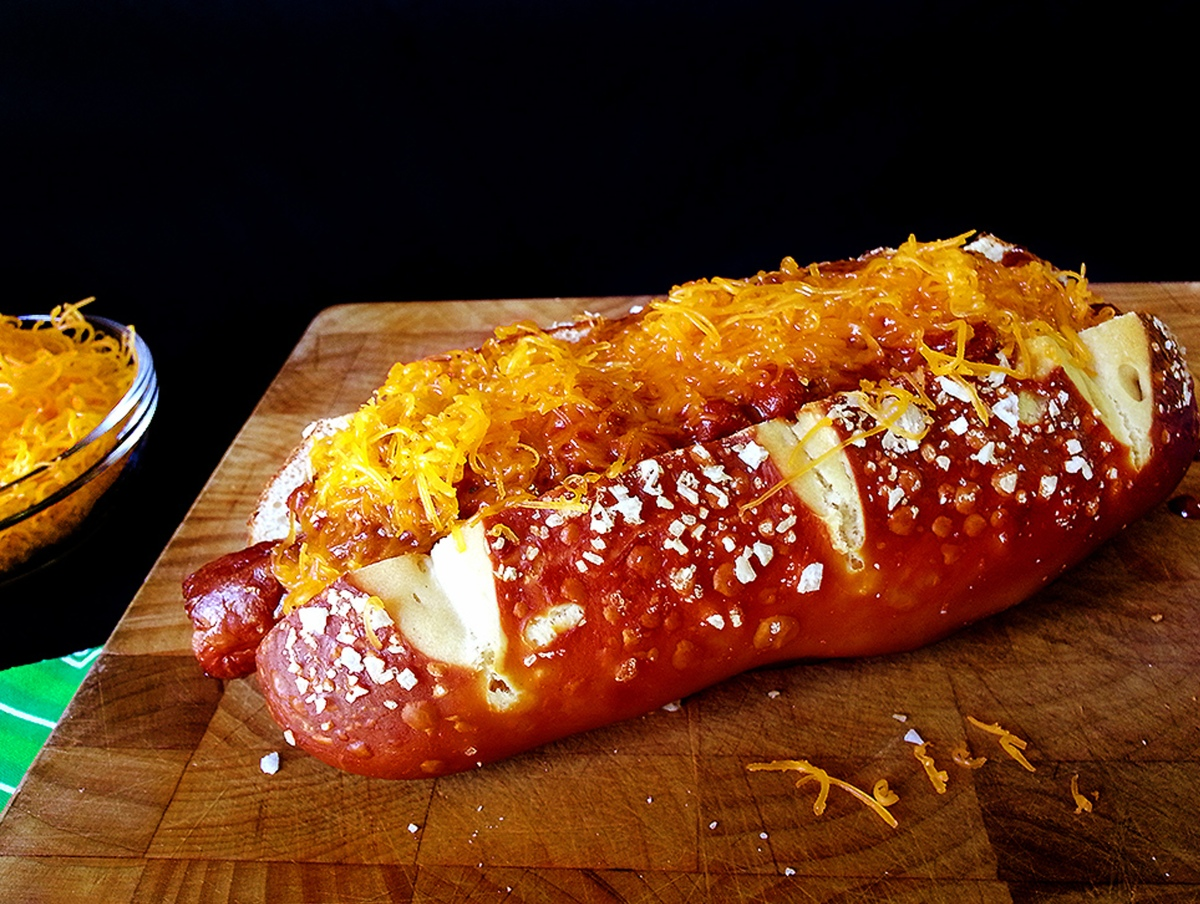chili cheese pretzel dogs