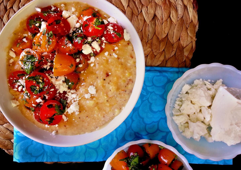 charred corn polenta with herb + tomatosalad