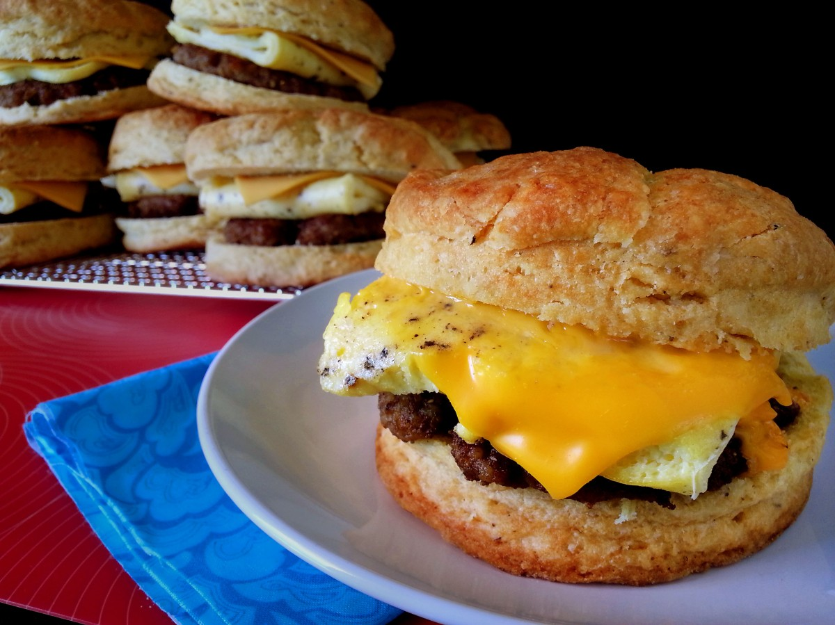 sausage, egg + cheese biscuit sandwiches | oven + apron